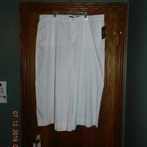NWT Women's Lauren White Wide Leg Crop Pant